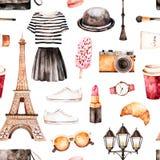 Handpainted tekstura z pasiastym wierzchołkiem, kosmetyki, wycieczka turysyczna Eiffel ilustracja wektor
