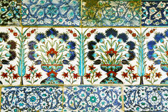 Handpainted tiles in harem of Topkapi, Istanbul Stock Photo