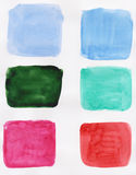 Handpainted various watercolor squares royalty free stock photography
