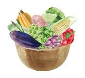 Handpainted vattenfärgclipart med nya grönsaker i bunke Arkivfoto