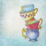 Handpainted vintage cups Royalty Free Stock Image