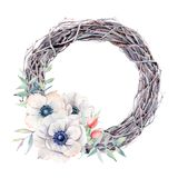 Handpainted watercolor anemone flowers wreath in vintage style Royalty Free Stock Images