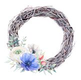 Handpainted watercolor anemone flowers wreath in vintage style Royalty Free Stock Photo