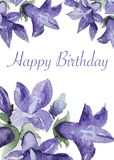 Handpainted watercolor bell flowers card Stock Photography