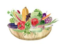 Handpainted watercolor clipart with vegetables on cutting board Stock Image