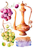Handpainted watercolor collection with gold ewer and bunch of grapes Stock Image