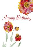 Handpainted watercolor flowers card Stock Photos