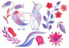 Handpainted watercolor flowers and unicorn.