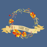 Handpainted watercolor  illustration of wreath with poppie Stock Images