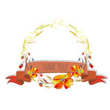 Handpainted watercolor  illustration of wreath with poppie Royalty Free Stock Images