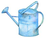 Handpainted watercolor illustrations vintage watering can vector illustration