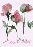 Handpainted watercolor peony flower card Royalty Free Stock Images