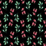 New Year and Christmas Seamless Pattern. Handpainted watercolor seamless pattern with green twigs and red rosehip berries on black background Stock Images