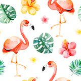 Handpainted watercolor seamless pattern with multicolored flower,tropical leaves,flamingo bird. On white background.Tropical background.Perfect for your project Stock Image