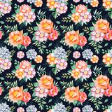 Handpainted watercolor seamless pattern with peonies,flower,succulents,tropical leaves. Branch on dark background.Lovely texure.Perfect for your project,wedding Royalty Free Stock Images
