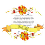 Handpainted watercolor vector illustration poppies, grass and le Royalty Free Stock Photography