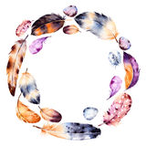 Handpainted watercolor wreath of feathers and eggs. Royalty Free Stock Photos