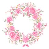 Handpainted watercolor wreath with rose flowers. Elegant romantic postcard layout with pink roses and message for wedding greeting cards, Birthday, woman`s day vector illustration