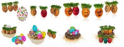 Handpainted Wielkanocni jajka w śmieszny okaleczam i zaskakuję cartoonish Obraz Royalty Free