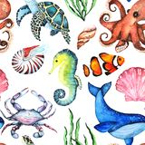 Watercolor Bright Paterrn with Many Different Sea Animals royalty free illustration