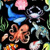 Watercolor Bright Paterrn with Many Different Sea Animals stock illustration
