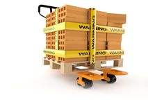 Handpallettruck met bakstenen vector illustratie