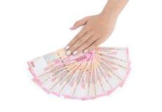 handpengar över tabellen Royaltyfri Fotografi