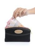 handpengar s som tar kvinnan Arkivbild
