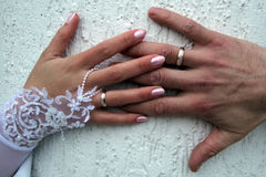 Handpersoner på bröllopsresa Arkivfoton