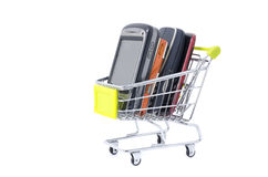 Handphone with mini trolley Stock Image