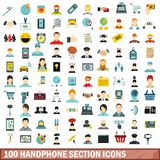 100 handphone section icons set, flat style. 100 handphone section icons set in flat style for any design vector illustration Stock Illustration