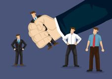 Handpicked Business Professional Cartoon Vector Illustration. Business professional picked by a giant hand. Creative cartoon illustration on human resource stock illustration
