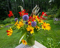 Handpicked garden bouquet. Freshly picked perennial garden flowers handsomely arranged in a bouquet royalty free stock images