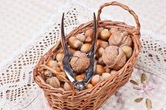Handpiece για τα ραγίζοντας καρύδια στο καλάθι Στοκ φωτογραφία με δικαίωμα ελεύθερης χρήσης