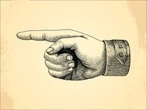 Handpoint do direito humano, vintage do estilo do esboço Foto de Stock Royalty Free