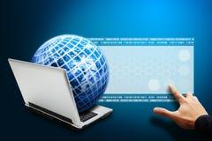 Handpress på den Digital LCD skärmen royaltyfri illustrationer