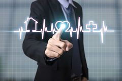 Handpresse die Knopfkontrollgesundheitswesenikone Stockbild
