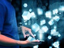 Handpresse-Technologietelefon Lizenzfreie Stockbilder