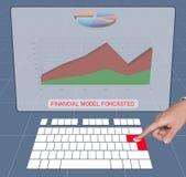 Handpressetastatur, zum von Finanzprognose zu analysieren Lizenzfreies Stockfoto