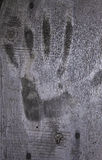 Handprint σε μια ξύλινη επιφάνεια Στοκ φωτογραφία με δικαίωμα ελεύθερης χρήσης