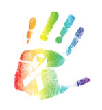 同性恋自豪日丝带handprint例证 免版税库存照片