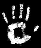 Handprint. White Handprint on black fully editable vector illustration Stock Photography