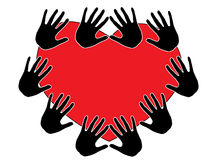 Handprint And Red Heart Stock Photos