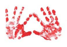 HandPrint av barnet i form av hjärta Arkivbilder