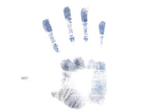 Handprint azul Fotos de Stock Royalty Free
