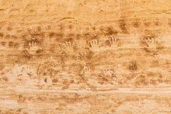 Handprint-Bilddagramme bei der 17 Raum-Ruine Stockbild