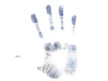 Handprint blu Fotografie Stock Libere da Diritti