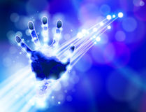 Handprint, blue technology background Stock Photos
