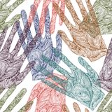 Handprint bonito do zentangle do esboço ilustração do vetor