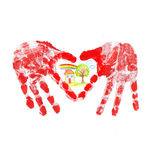 HandPrint of the child in the form of heart Stock Images